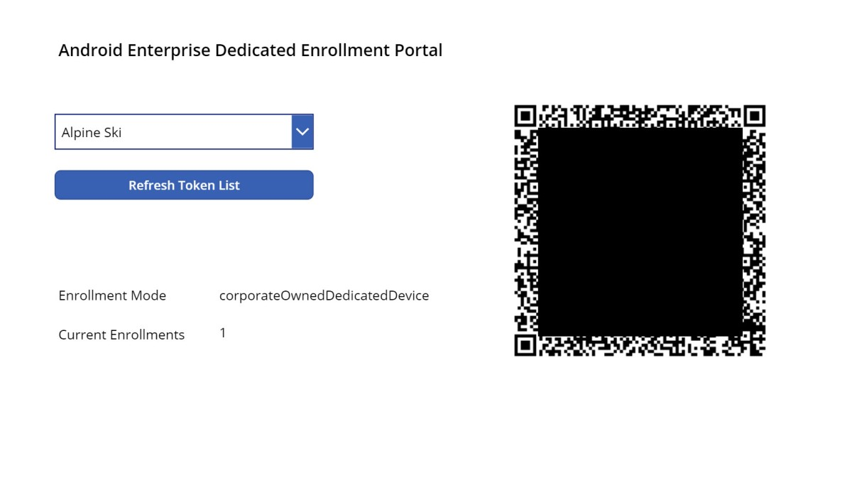 Android Firstline QR code Device Enrollment Portal