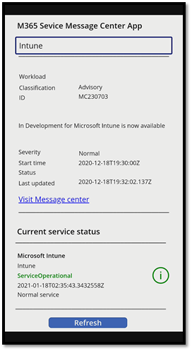 Microsoft 365 Message Center and Service Health Power App
