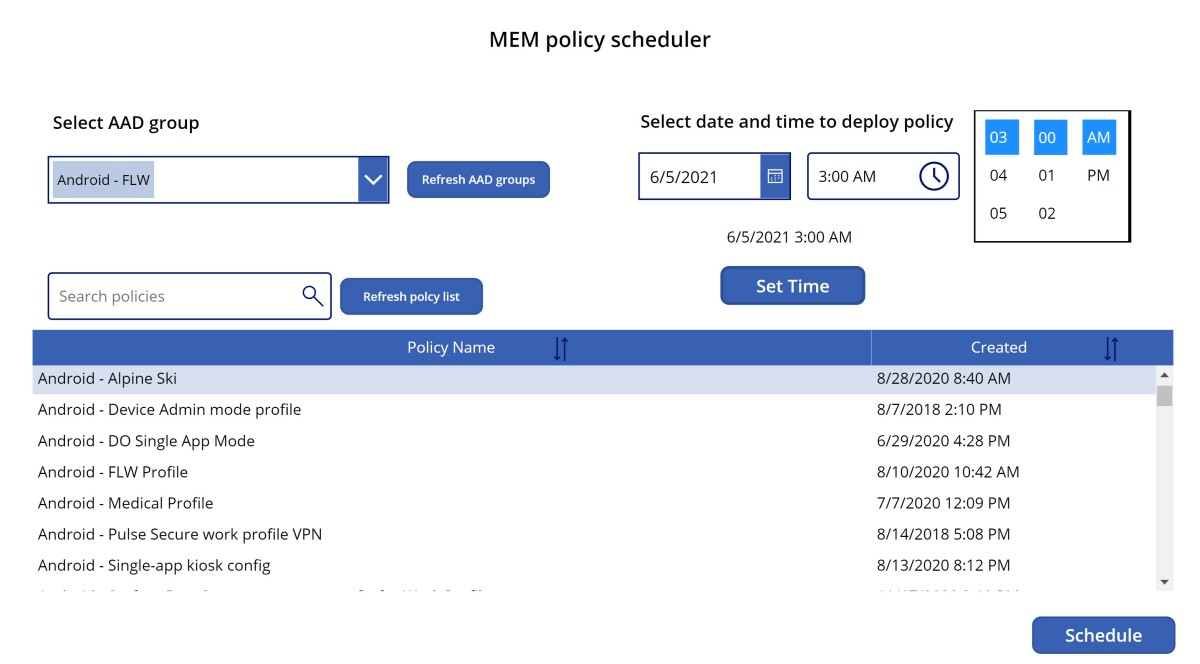 Deploy Microsoft Endpoint Manager configuration policies on a schedule with Power Apps and PowerAutomate